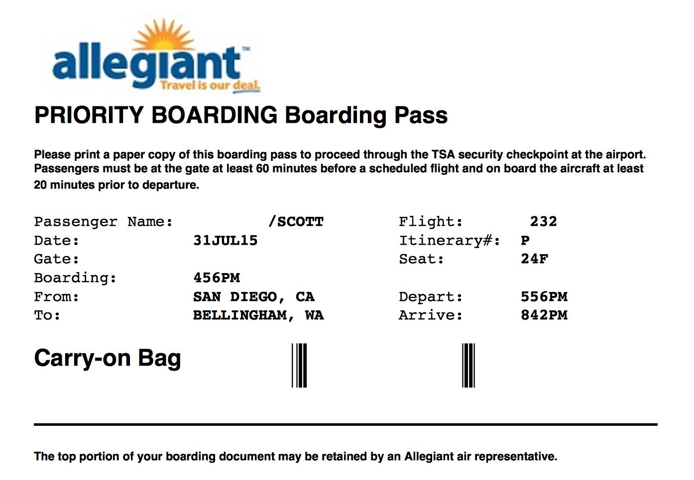 Tsa Precheck Allegiant Air A319 San Diego Ca To Bellingham Wa