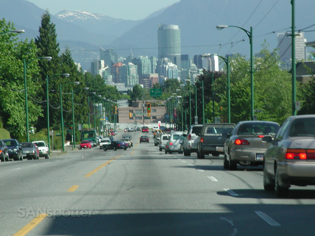 driving into Vancouver Canada