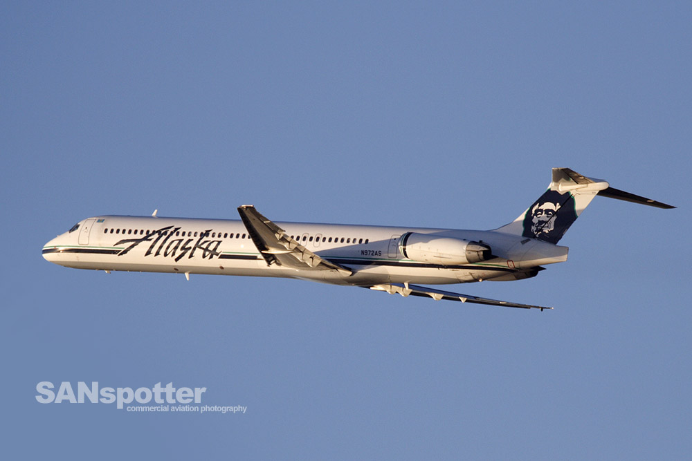 View of an Alaska Airlines MD-83 as seen from Spanish Landing in San Diego