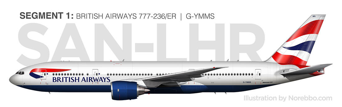 British Airways 777 side view