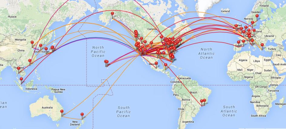 my flight log map
