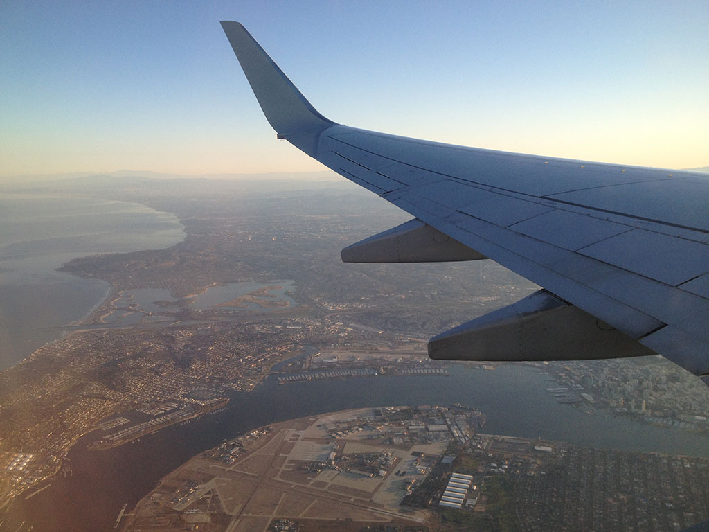 View of San Diego from the air as we head west towards DFW