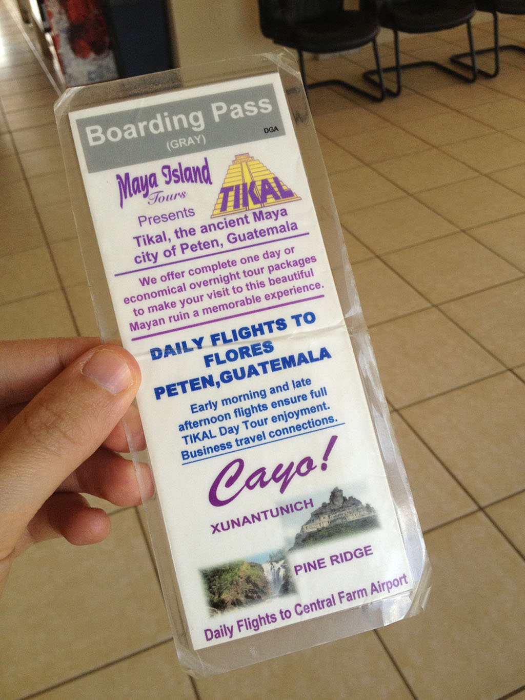 Maya Island Air boarding pass (back)