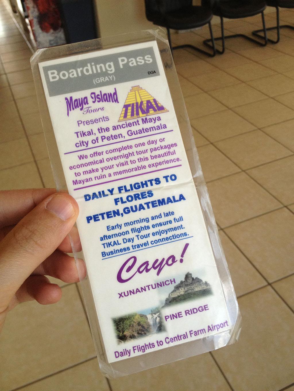 Maya Island Air boarding pass (back)