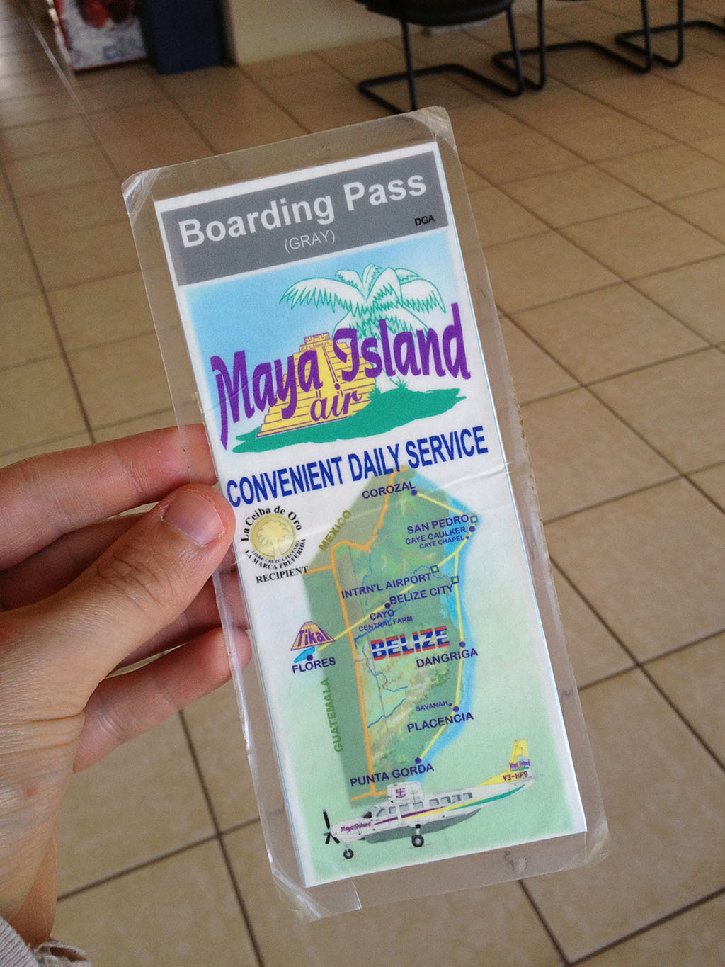 Maya Island Air boarding pass (front)