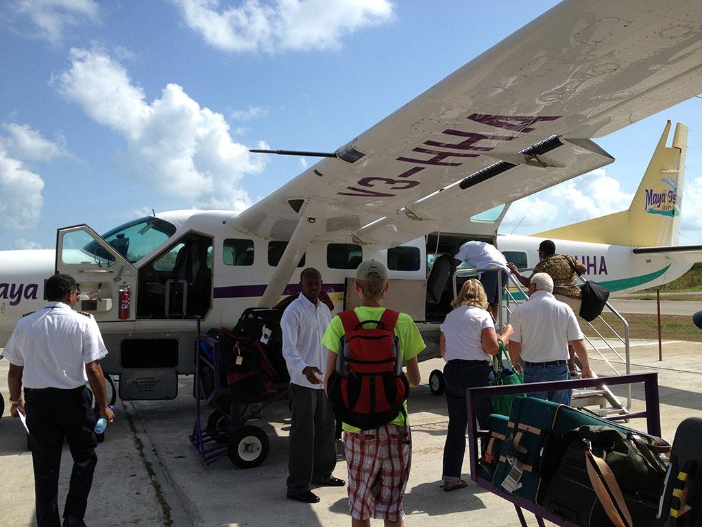 Boarding the Maya Island Air flight to Belize City