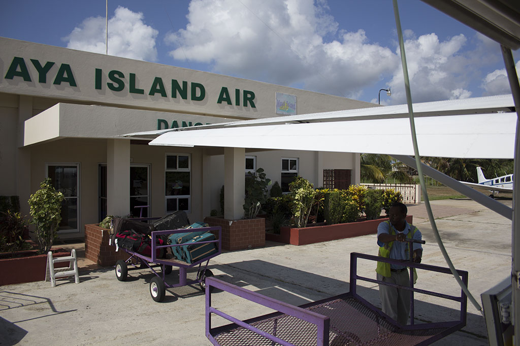 View of the Maya Island Air terminal building from the plane