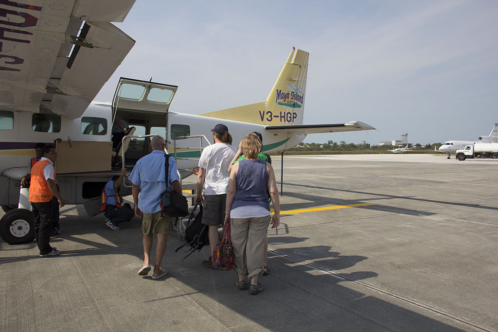 Boarding the Maya Island Air Grand Caravan