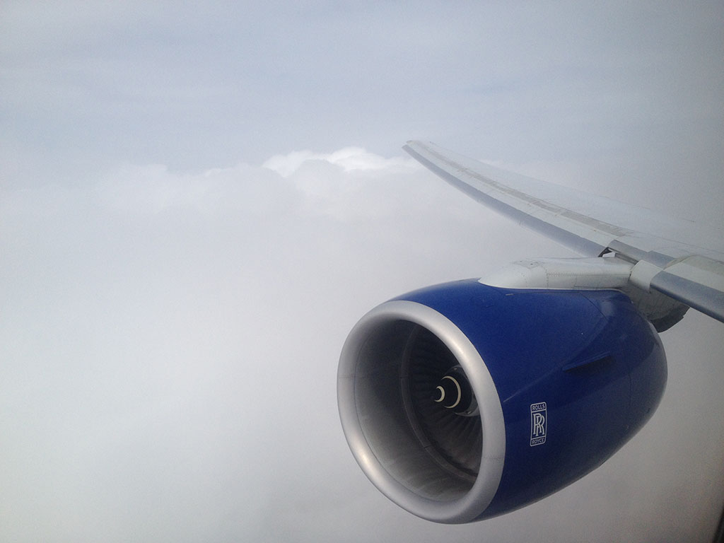Beginning our approach and entering the thick cloud layer