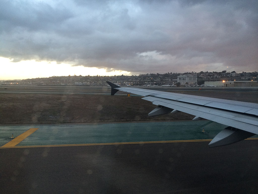 rainy view from the wing