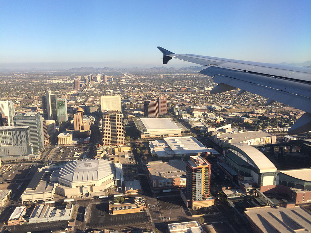 flying over downtown phoenix