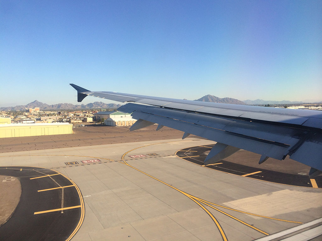 landing on runway 8 at PHX