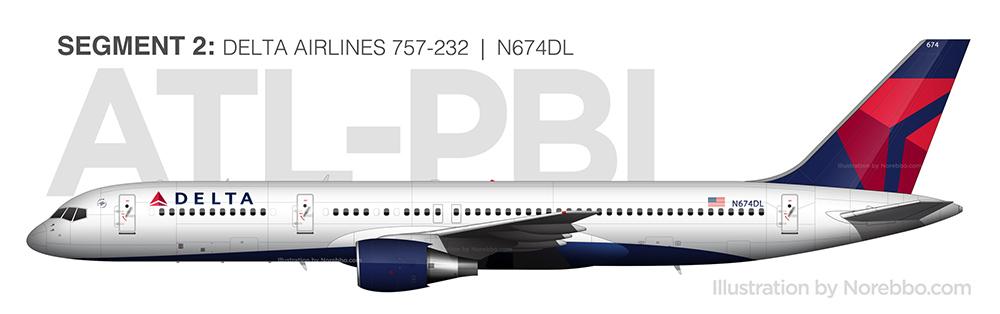 N674DL delta 757