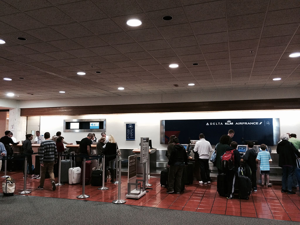 Delta check in counters at West Palm Beach international airport (PBI)