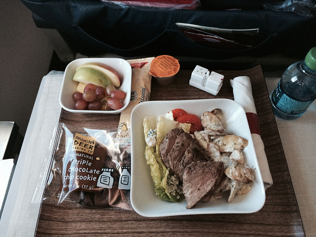 Delta Airlines first class beef salad
