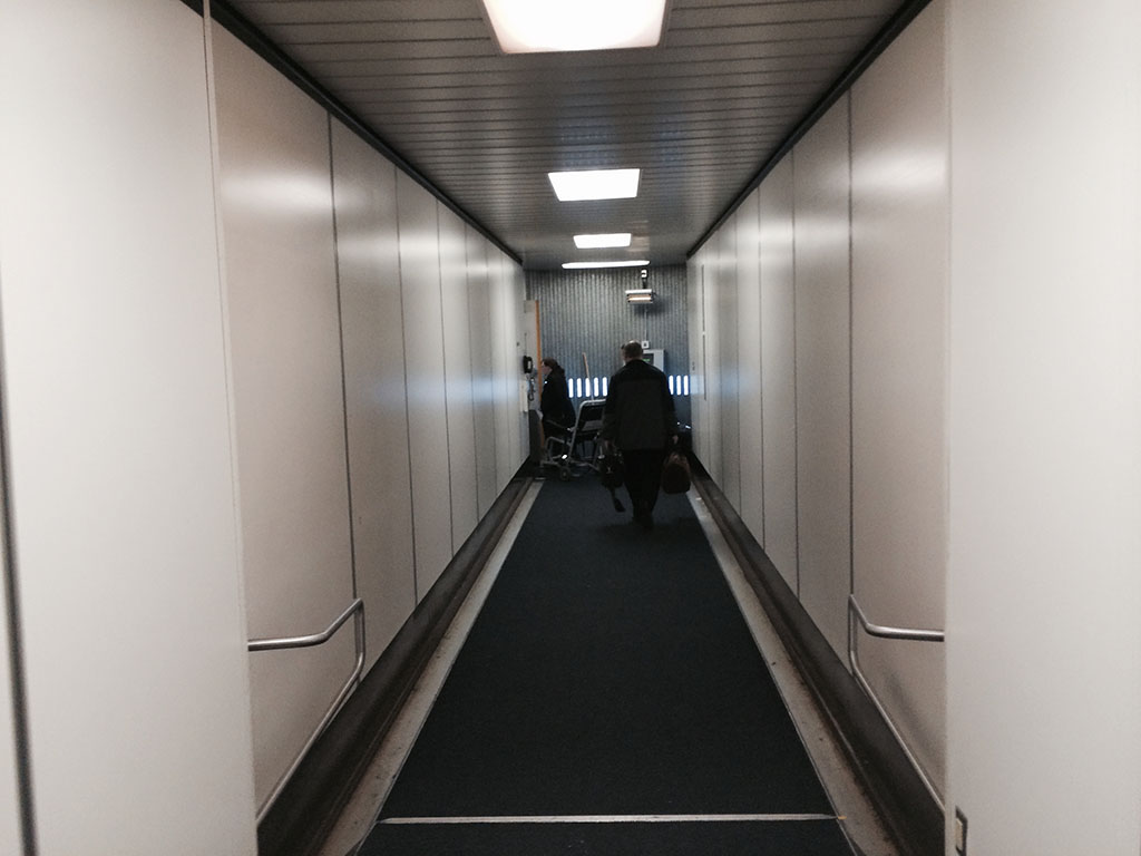 walking down the jetway
