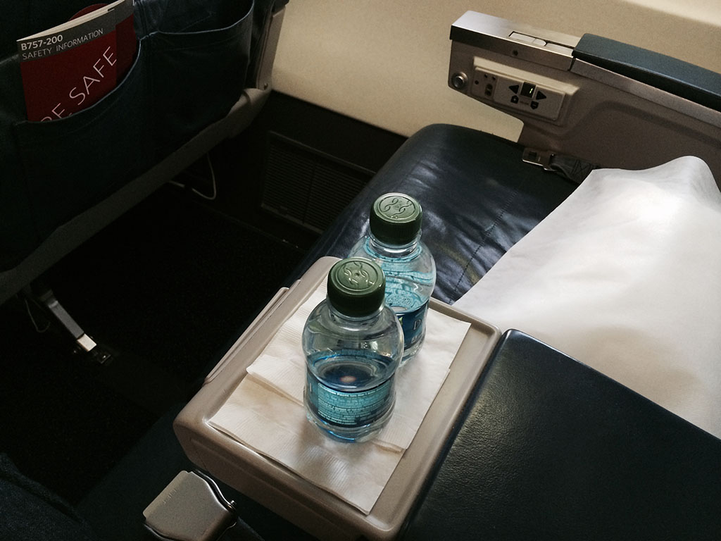 bottled water in first class