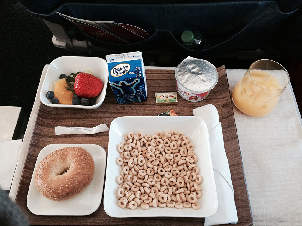 cheerios and orange juice in delta airlines first class