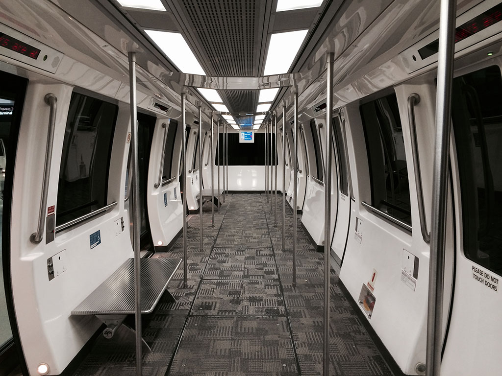 elevated train interior at DTW