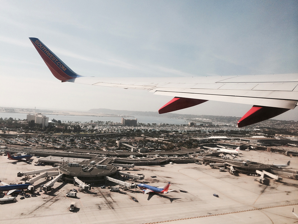 view of san diego international airport from the air