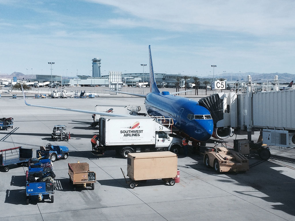 southwest airlines 737-700 at gate C5 in las vegas