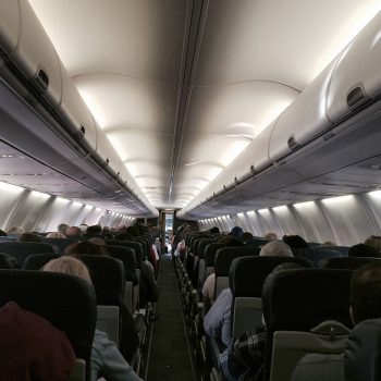 view from the last row on a southwest airlines 737