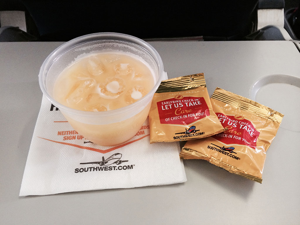 peanuts and orange juice in flight snack