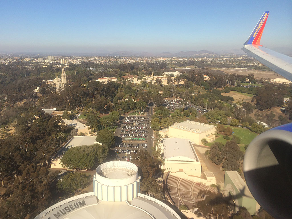 balboa park from the air as we approach SAN