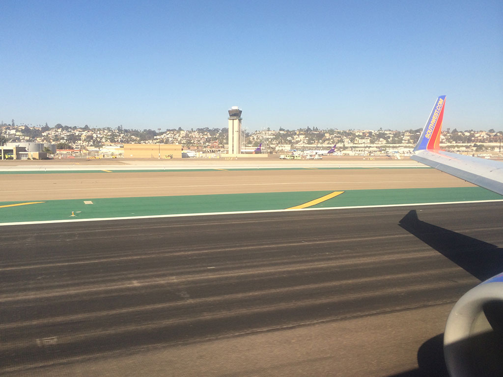Touchdown on runway 27 at SAN