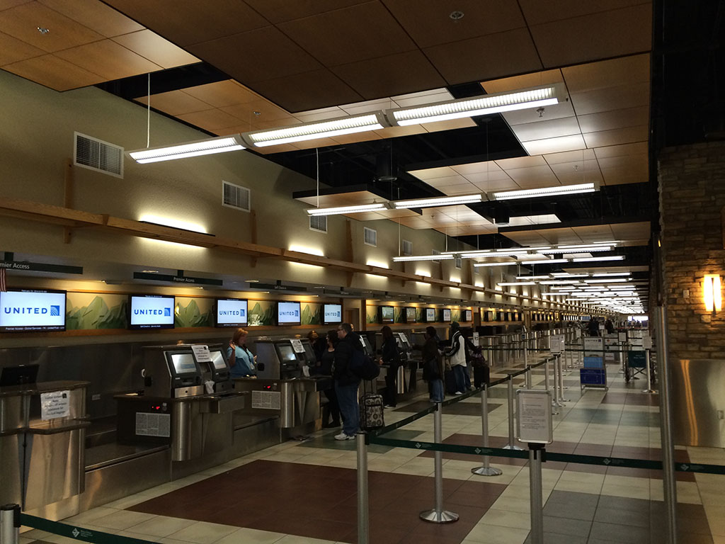 The check-in counters at rno