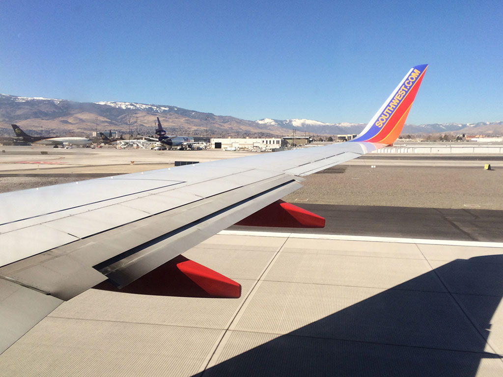 16R takeoff at reno international airport