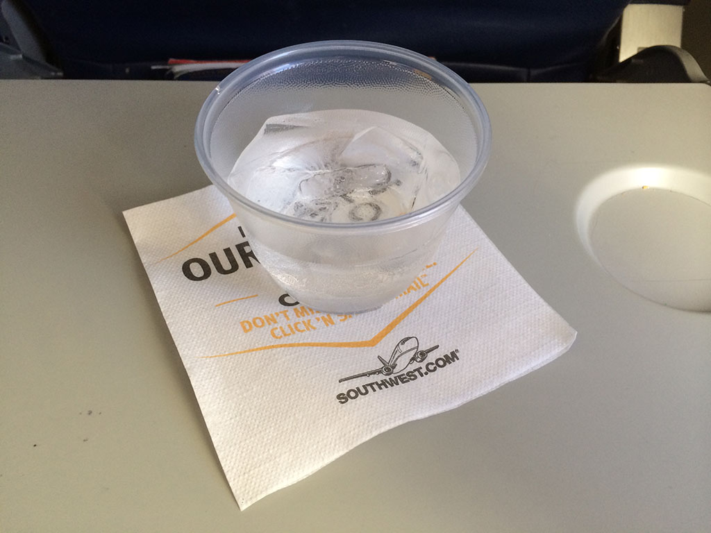 in flight beverage on southwest airlines