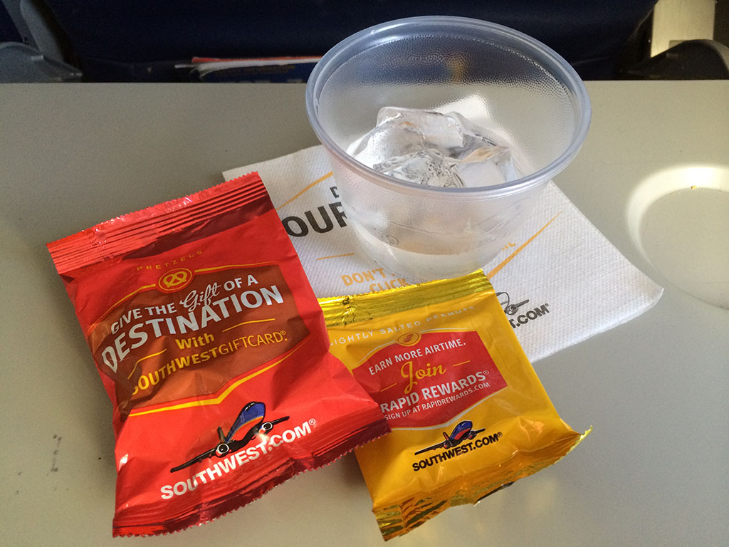 peanuts and pretzels on southwest airlines