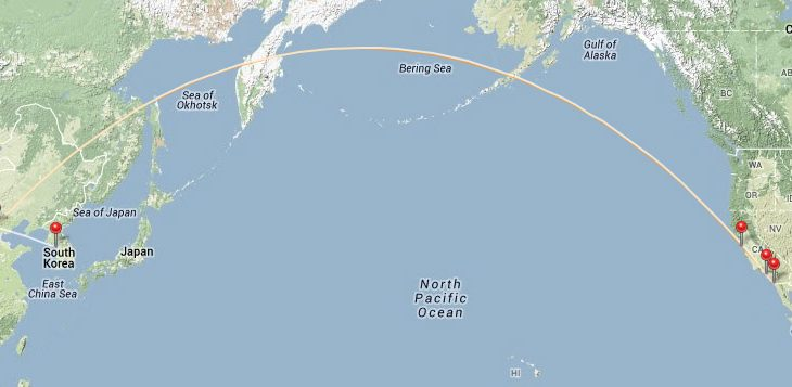 san diego to seoul route map