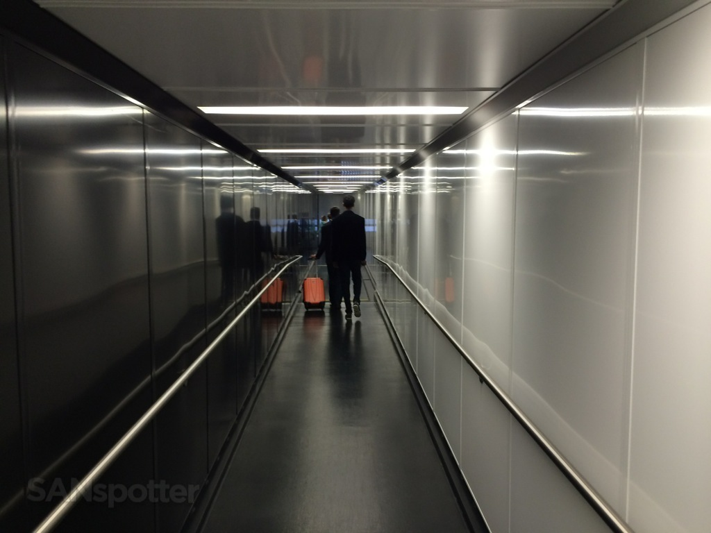 Walking down the jetway to board the plane at SAN