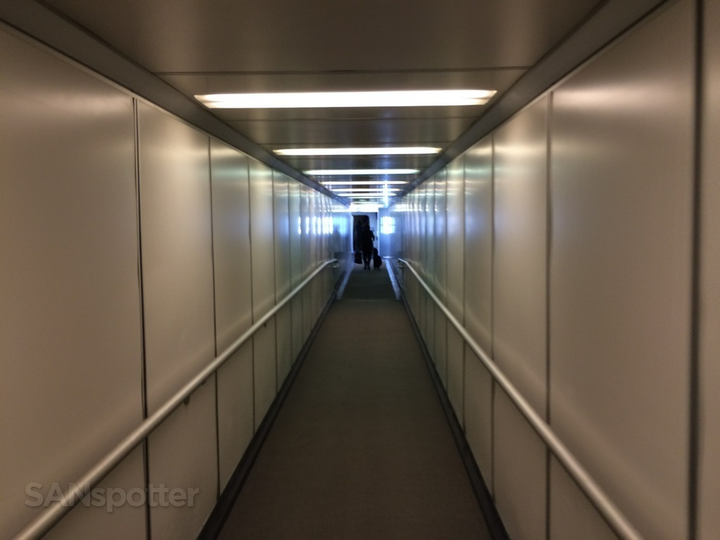 walking down the jet bridge at SFO