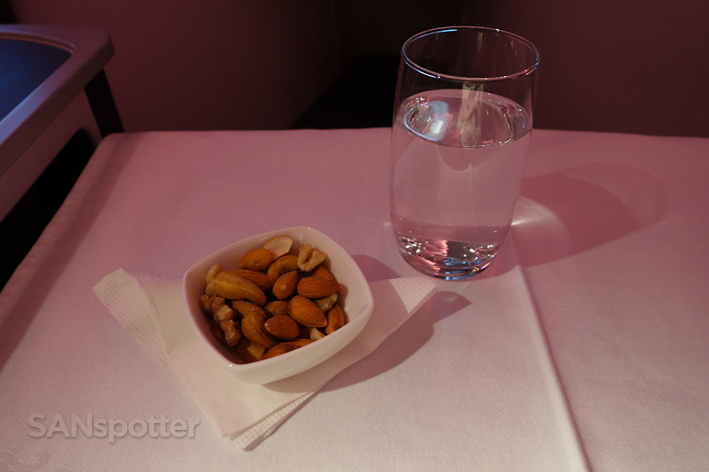 almond dish and water