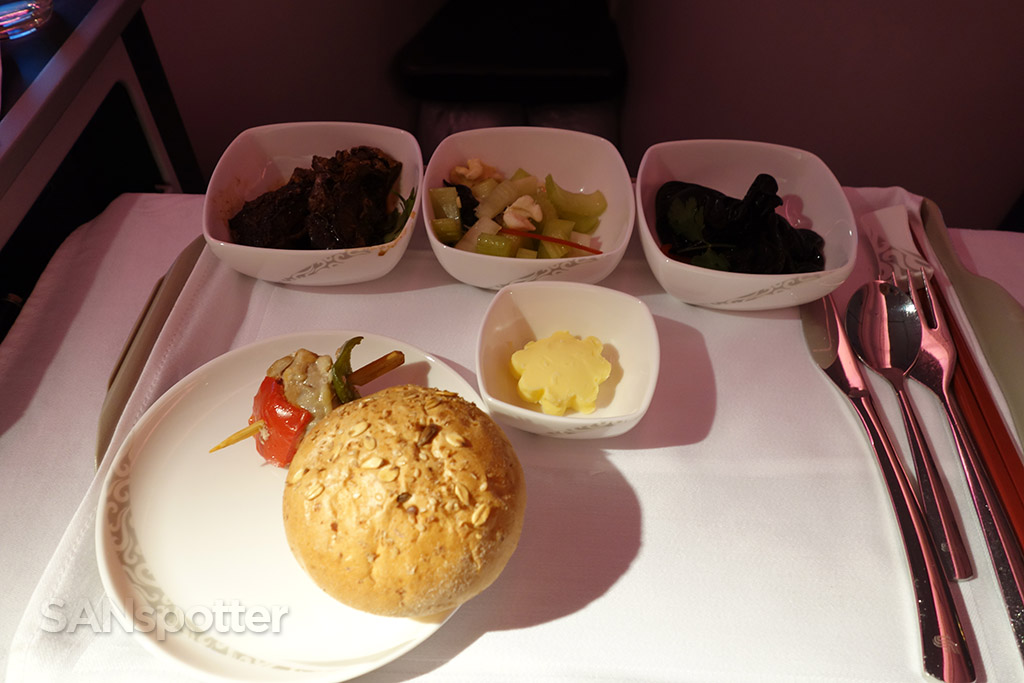 Chinese meal starter course in air china business class