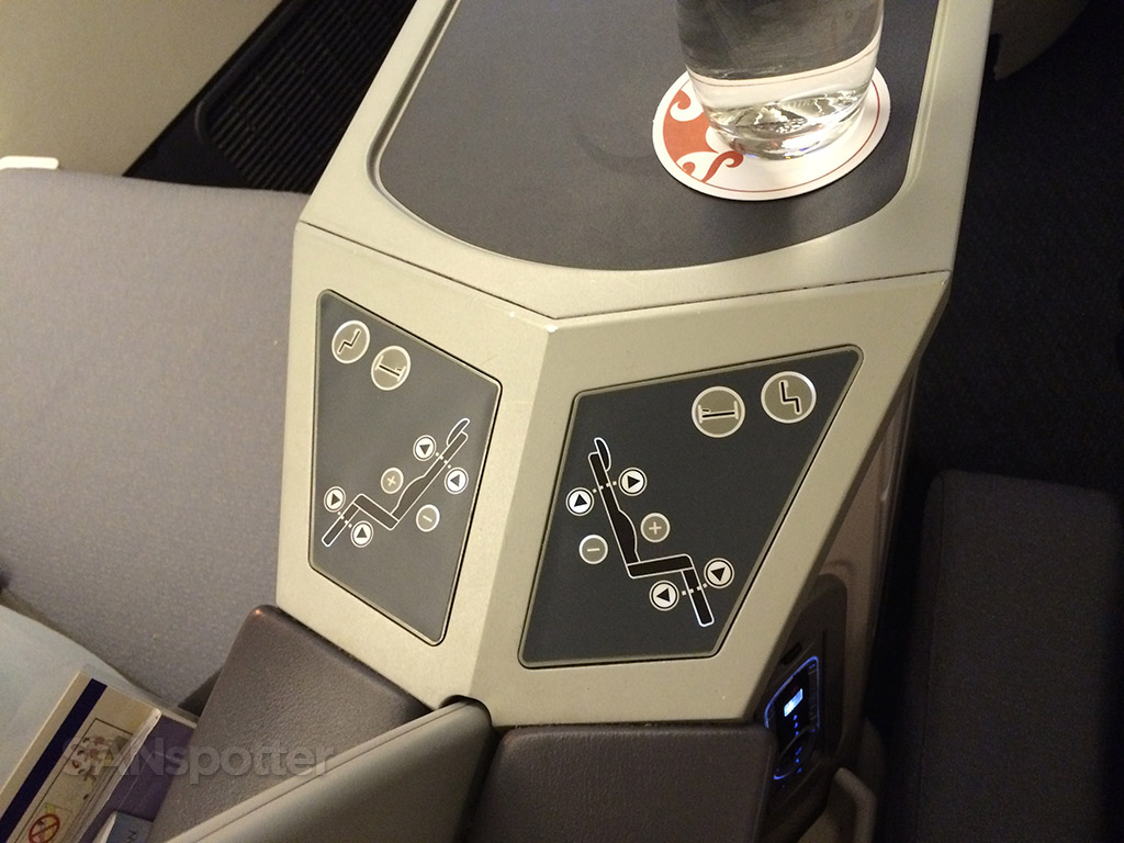 Air China business class seat controls
