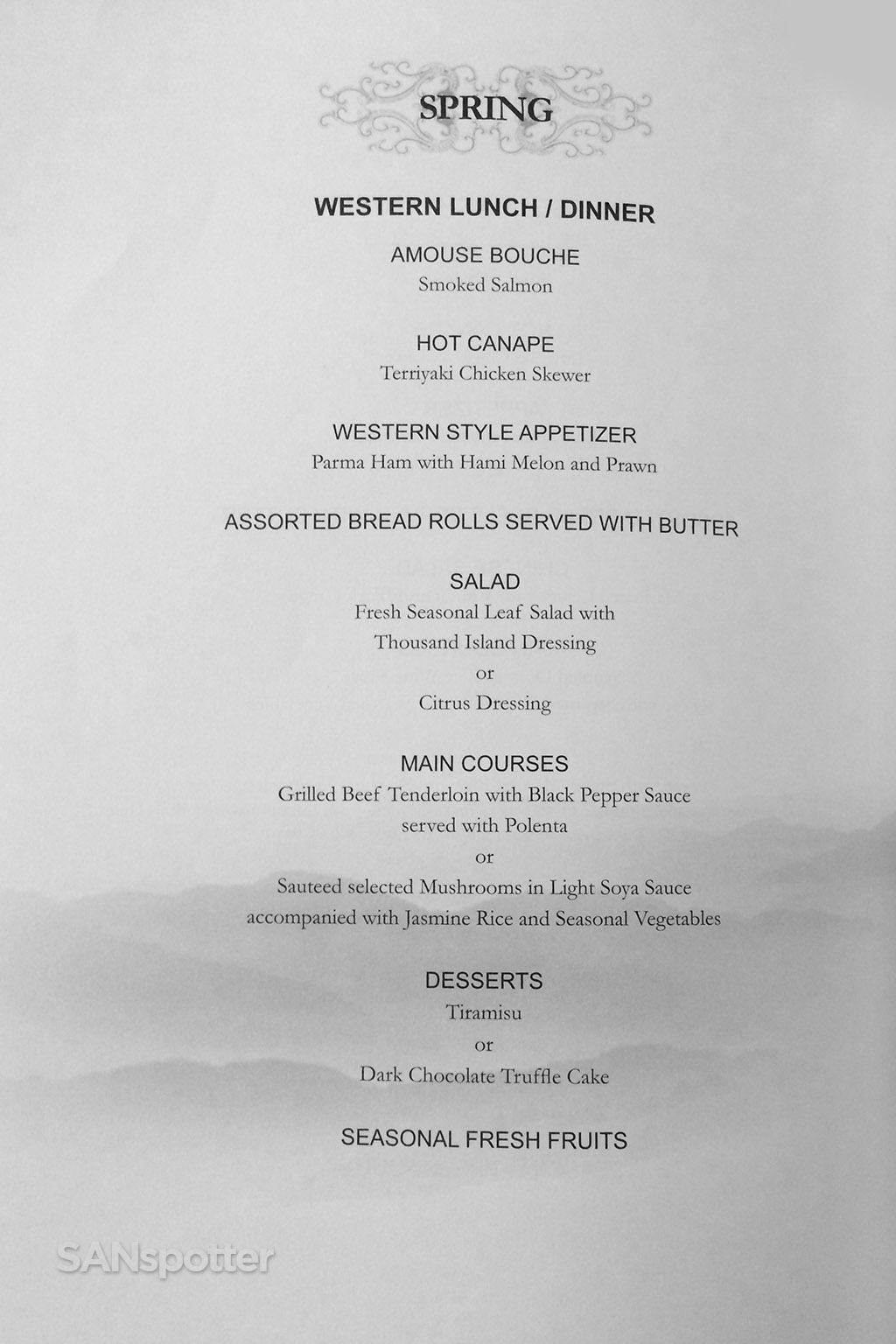 western lunch / dinner business class menu