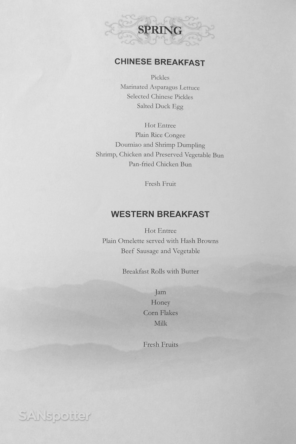 Chinese and western breakfast menu