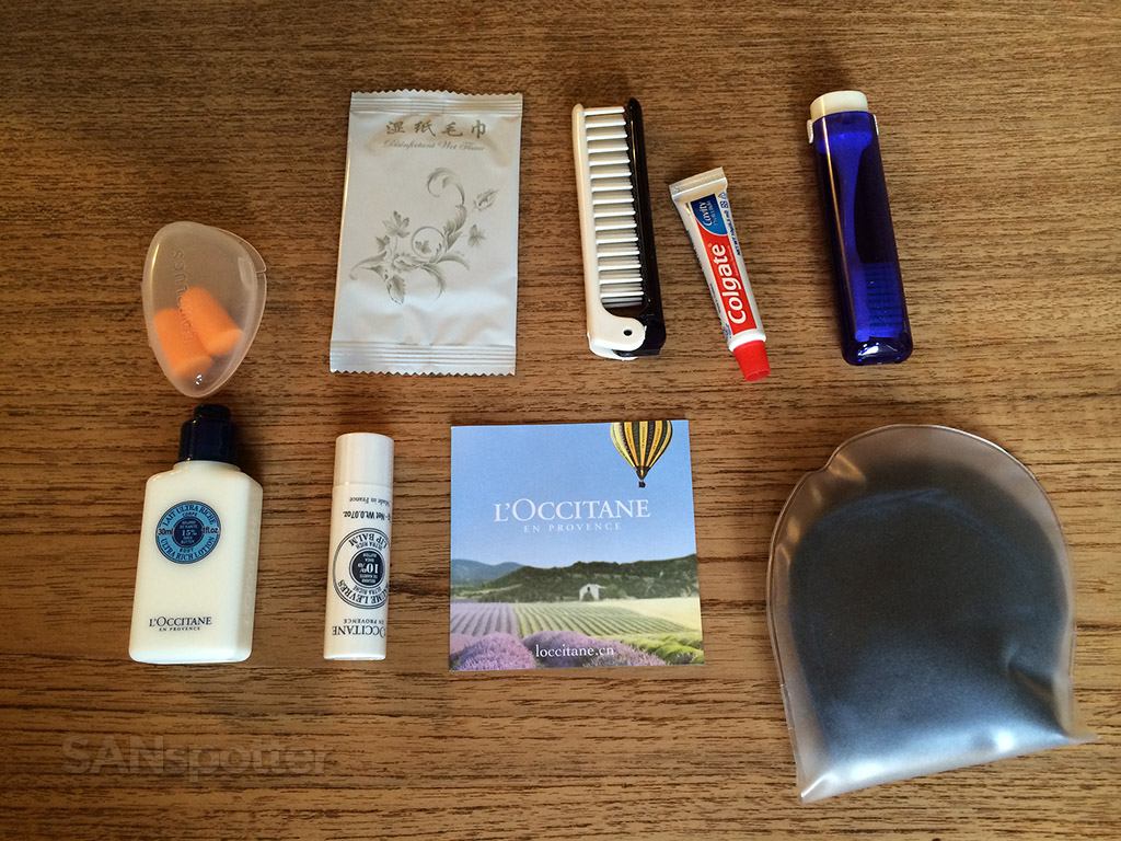 l'occitane amenity kit in business class