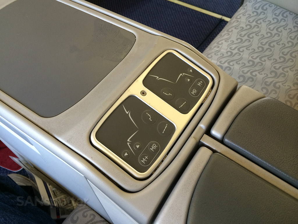 business class seat controls
