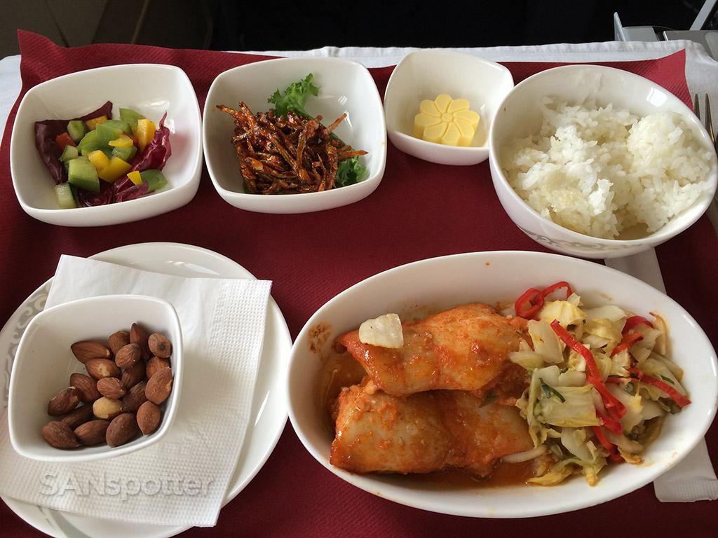 Air China business class chicken dinner