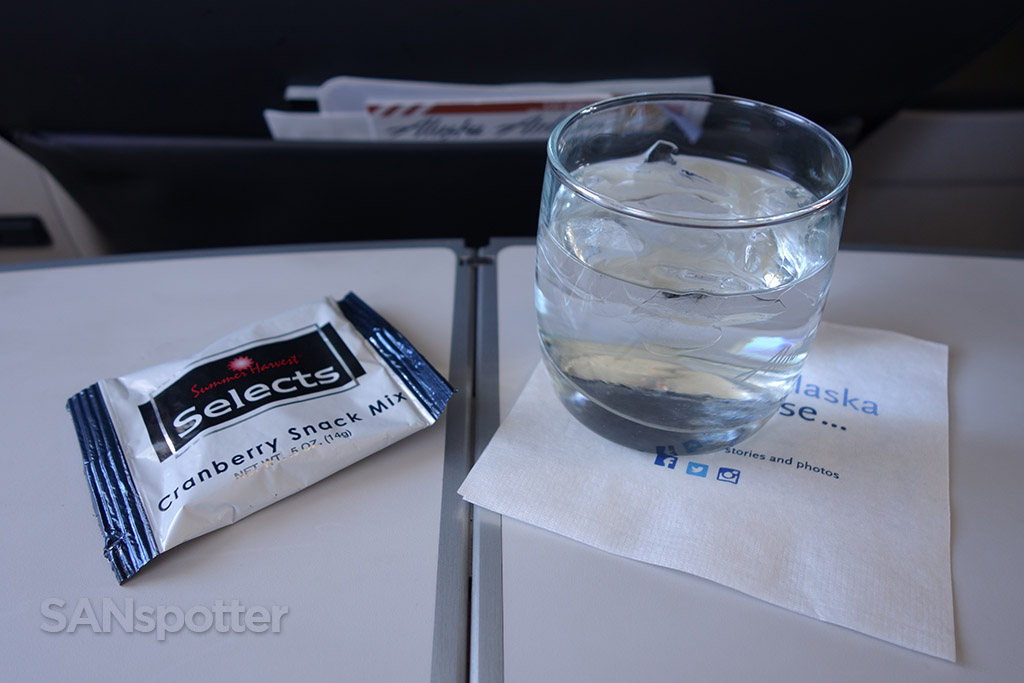 Alaska Airlines first class beverage service