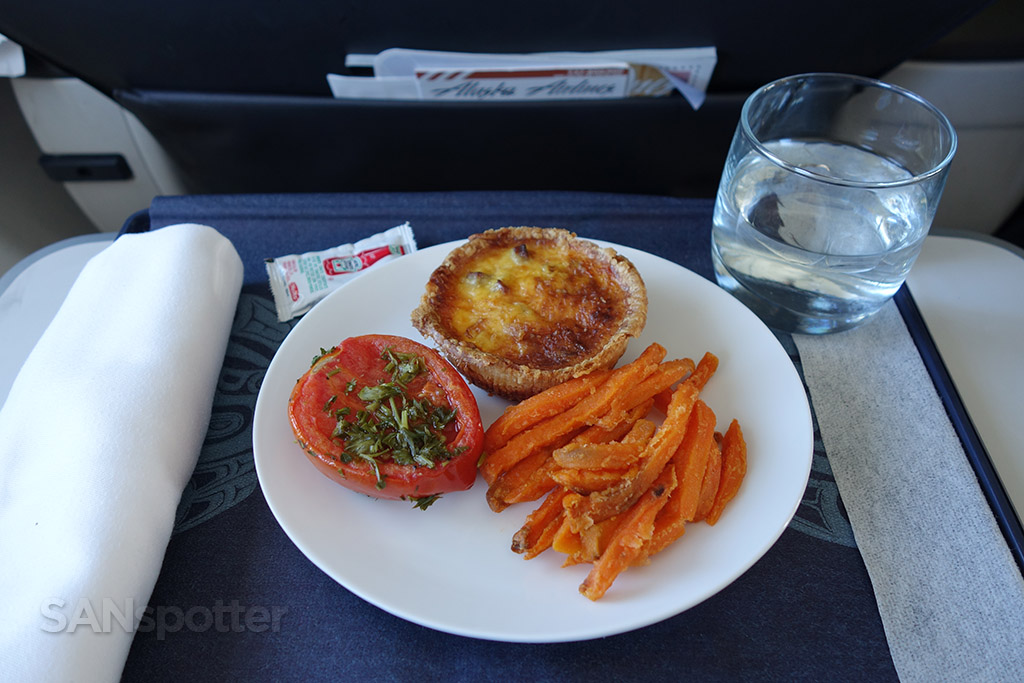 Alaska Airlines first class breakfast