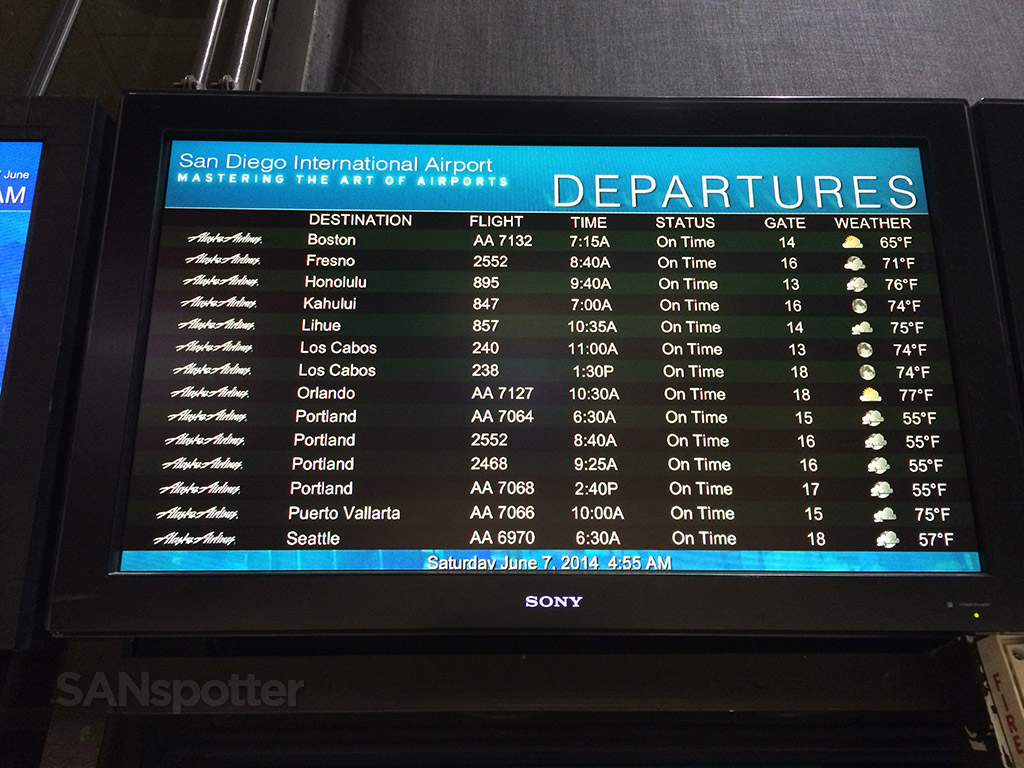 flight information board at san diego airport terminal 1