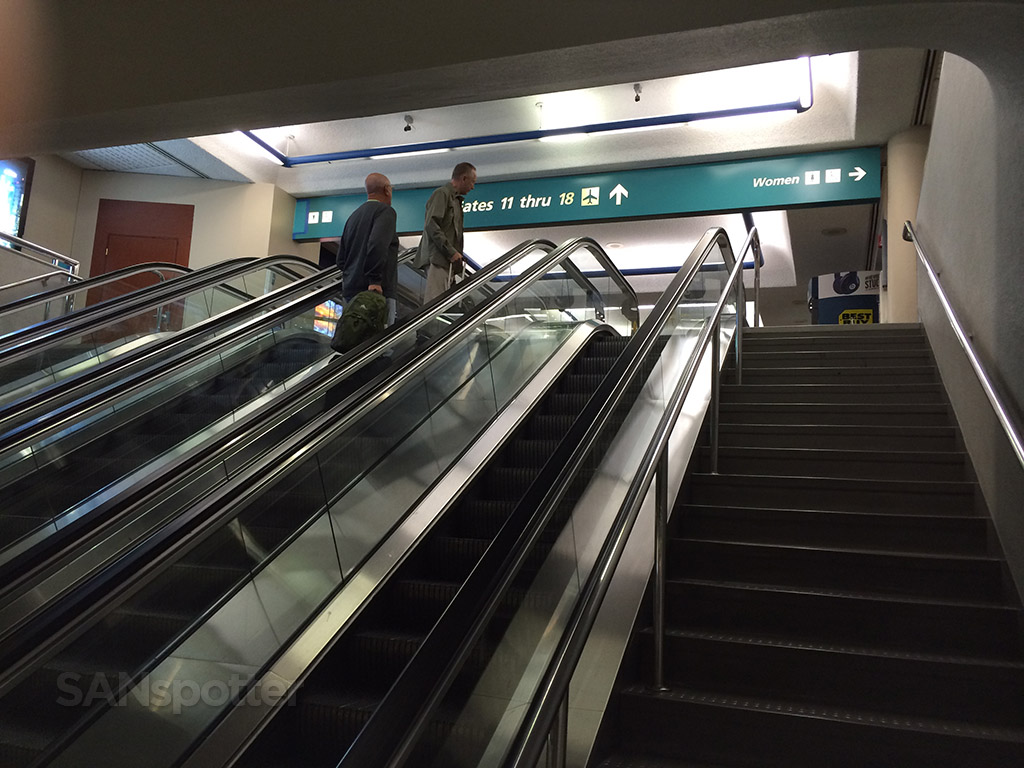 stairs to terminal 1 gate area at SAN