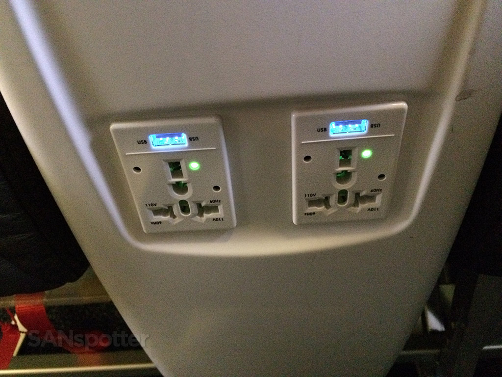 first class electrical outlets and USB ports