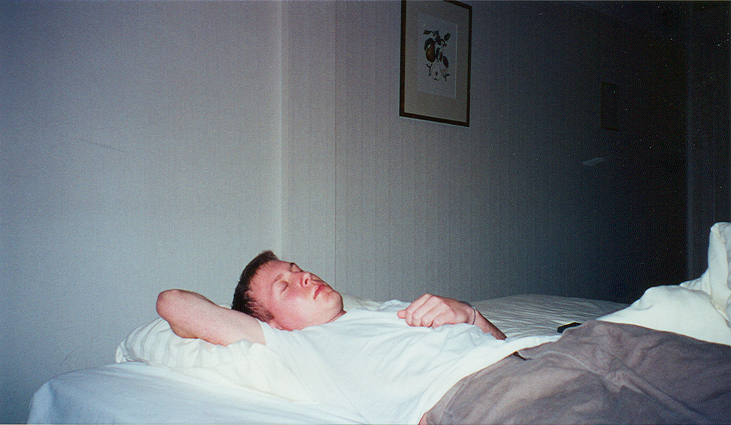 picture of me asleep in my hotel room